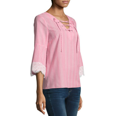 a.n.a 3/4 Sleeve Lace Up Stripe Blouse - Misses & Petite