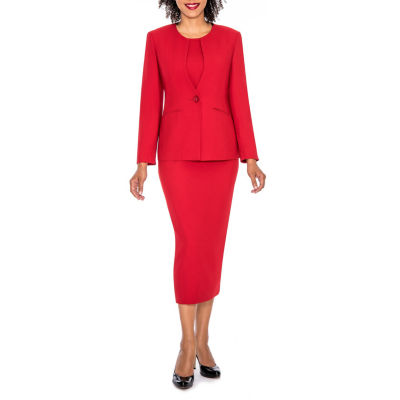 Giovanna Signature Women's Round Neck Mock 2-pocket 3-piece Skirt Suit