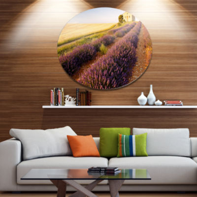 Designart Chapel with Lavender and Grain Field Large Flower Metal Circle Wall Art