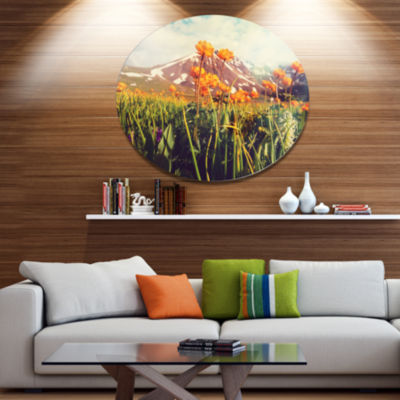 Designart Fantastic Yellow Flowers in Meadow LargeFlower Metal Circle Wall Art