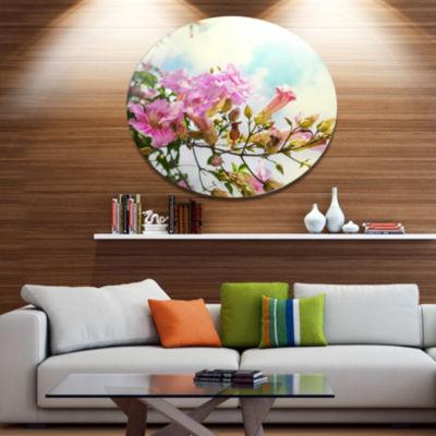 Designart Pink Flowers in Hawaiian Garden Large Flower Metal Circle Wall Art