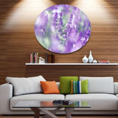 Designart Beautiful Purple Mint Flowers Large Flower Metal Circle Wall Art