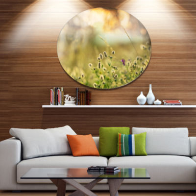 Designart Little Summer Flowers in Meadow Large Flower Metal Circle Wall Art