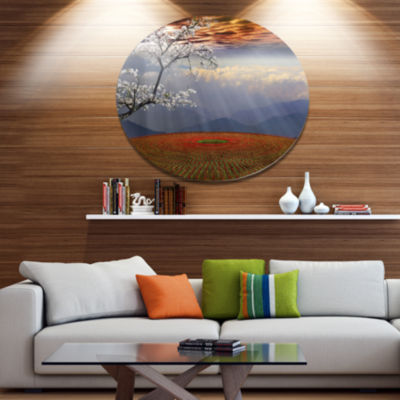 Designart Beautiful Flower Field At Sunset ExtraLarge Landscape Metal Circle Wall Art