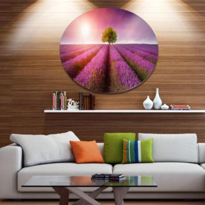 Designart Purple Sky over Stunning Lavender FieldFloral Metal Circle Wall Art