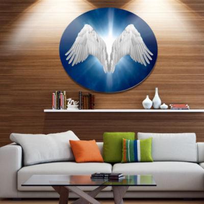 Designart Angel Wings on Blue Background AbstractMetal Circle Wall Art