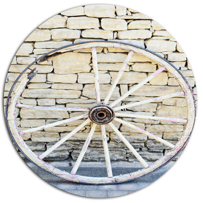 Designart Old Vintage Broken Wood Wheel Extra Large Landscape Metal Circle Wall Art