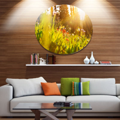 Designart Green Meadow with Summer Flowers LargeFlower Metal Circle Wall Art