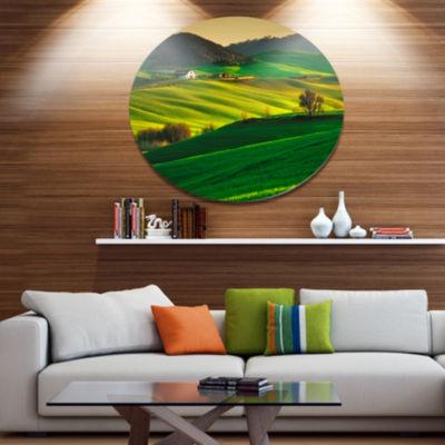 Designart Trees and Farmland Near Volterra ExtraLarge Landscape Metal Circle Wall Art