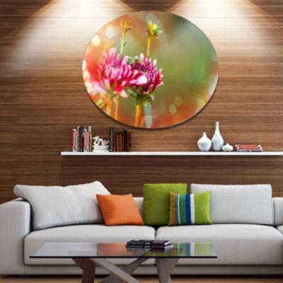Designart Pink Flowers on Blurred Background LargeFlower Metal Circle Wall Art