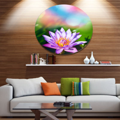 Designart Purple Lotus on Abstract Background Large Flower Metal Circle Wall Art