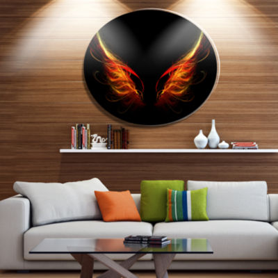 Designart Hell Wings on Black Background AbstractMetal Circle Wall Art