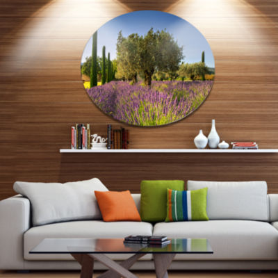 Designart Beautiful Lavender and Olive Trees LargeFlower Metal Circle Wall Art
