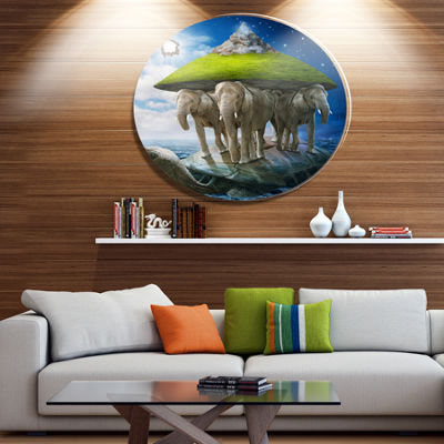 Designart Giant Turtle Carrying Elephants AbstractMetal Circle Wall Art