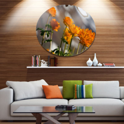 Designart Attractive Small Yellow Flowers Large Flower Metal Circle Wall Art