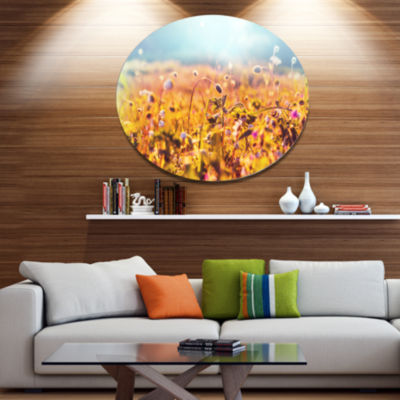 Designart Little Mountain Flowers on Sunny Day Large Flower Metal Circle Wall Art