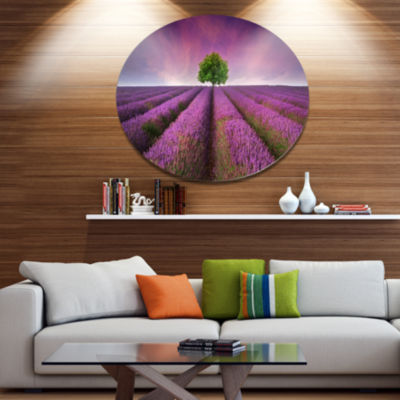 Designart Lavender Field Sunset with Single TreeFloral Metal Circle Wall Art