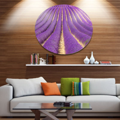 Designart Beautiful Pattern of Blooming LavenderLarge Flower Metal Circle Wall Art