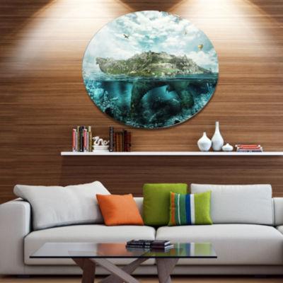 Designart Island Like Large Fantasy Turtle AnimalMetal Circle Wall Art
