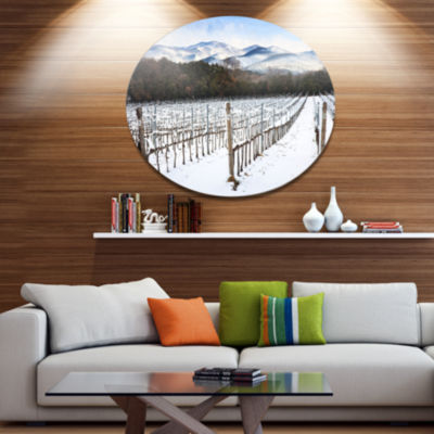Designart Snow Covered Vineyard Rows Italy ExtraLarge Landscape Metal Circle Wall Art