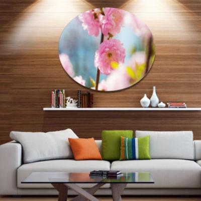 Designart Almond Tree Pink Flowers Large Flower Metal Circle Wall Art