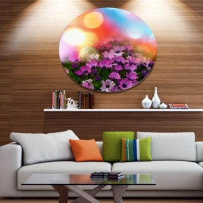 Designart Purple Flowers on Colorful Background Large Flower Metal Circle Wall Art