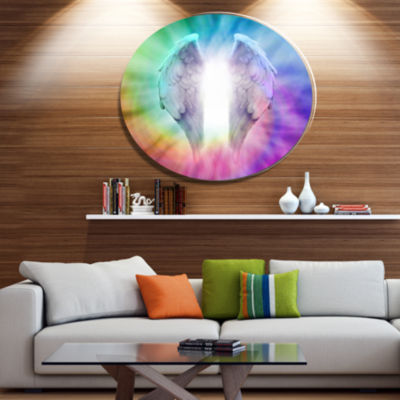 Designart Angel Wings on Rainbow Background Abstract Metal Circle Wall Art
