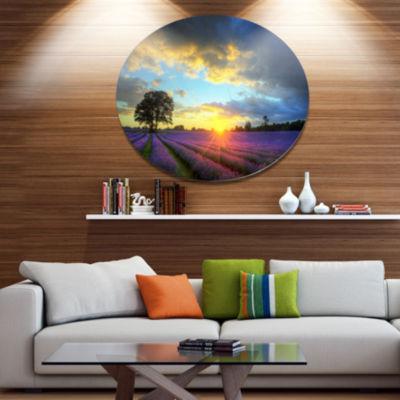 Designart Stunning Sunset over Lavender Fields Large Flower Metal Circle Wall Art
