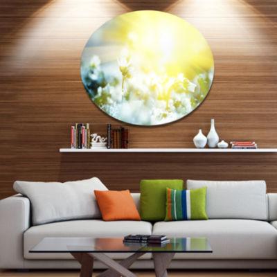 Designart Beautiful White Flowers At Sunrise LargeFlower Metal Circle Wall Art
