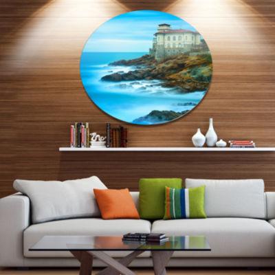 Designart Boccale Castle on Cliff Rock and Sea Beach Photo Metal Circle Wall Art