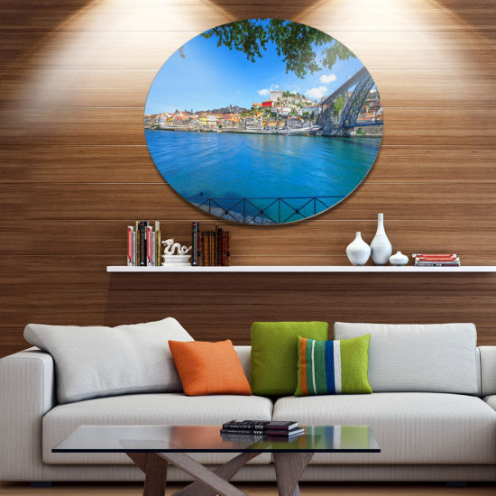 Designart Douro River and Iron Bridge Portugal Extra Large Landscape Metal Circle Wall Art