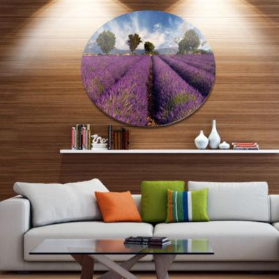 Designart Lavender Field on Windy Afternoon LargeFlower Metal Circle Wall Art