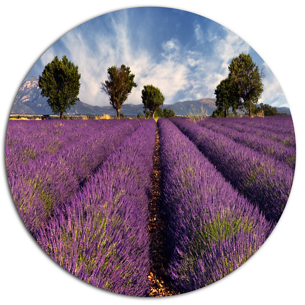 Designart Lavender Field on Windy Afternoon LargeFlower Metal Circle Wall Art