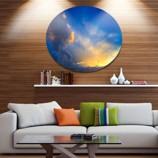 Designart Dramatic Sunset Sky with Thunderstorm Beach Photo Metal Circle Wall Art