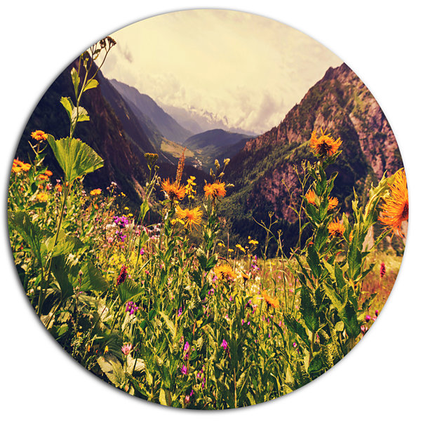 Designart Green Mountain Meadow with Flowers LargeFlower Metal Circle Wall Art