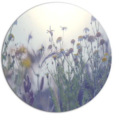 Designart Summer Flowers in Foggy Light Large Flower Metal Circle Wall Art