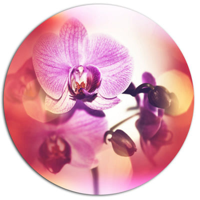 Designart Beautiful Pink Orchid Flowers Large Flower Metal Circle Wall Art