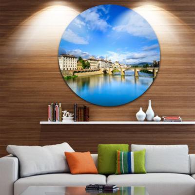 Designart Ponte Alle Grazie Florence Italy ExtraLarge Seashore Metal Circle Wall Art