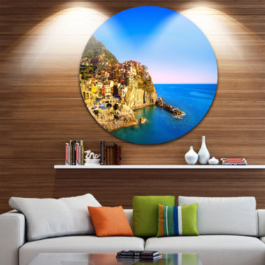 Designart Manarola Village Seashore Italy Extra Large Seashore Metal Circle Wall Art