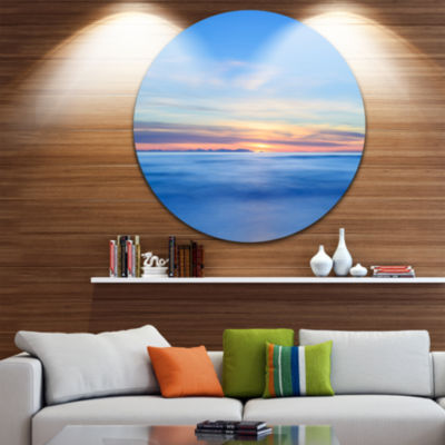 Designart Corsica Island Sunset View Italy ExtraLarge Seashore Metal Circle Wall Art