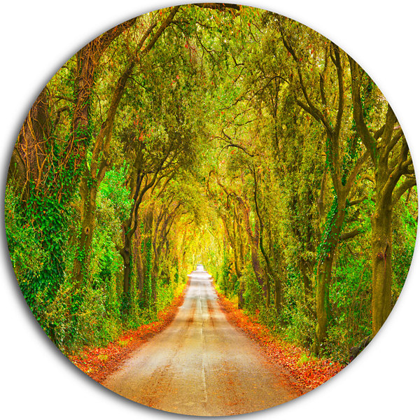 Designart Fall Greenery and Road Straight Ahead Oversized Forest Metal Circle Wall Art