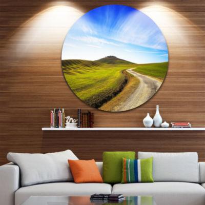 Designart Rural Road and Olive Trees Uphill Landscape Print Wall Artwork