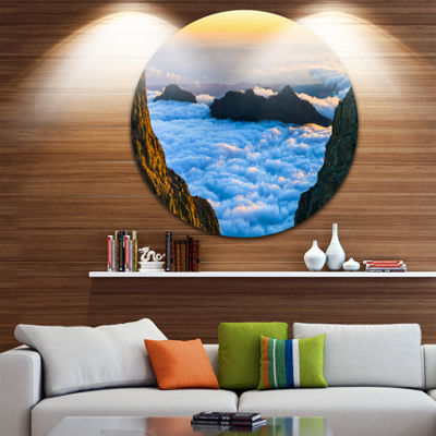 Designart Gran Canaria Sunset over Clouds Extra Large Seashore Metal Circle Wall Art