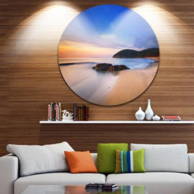 Designart Beautiful Sunset in Cala Violina BeachExtra Large Seashore Metal Circle Wall Art