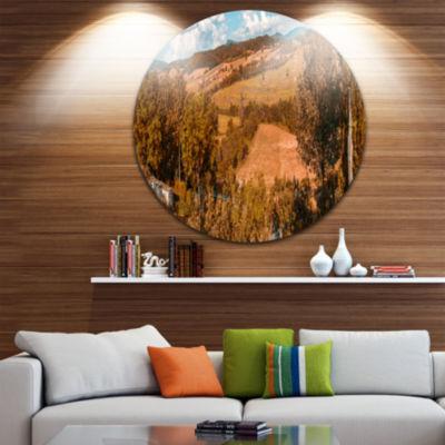 Designart Orange Autumn Mountains Tuscany Landscape Print Wall Artwork