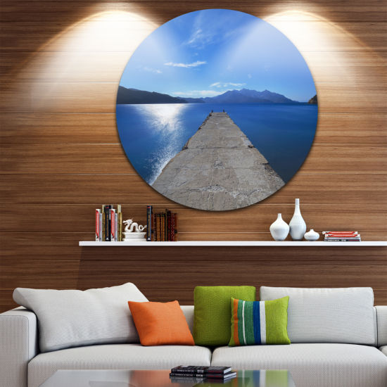 Designart Elba Island Pier and Capanne Mountain Oversized Landscape Wall Art Print