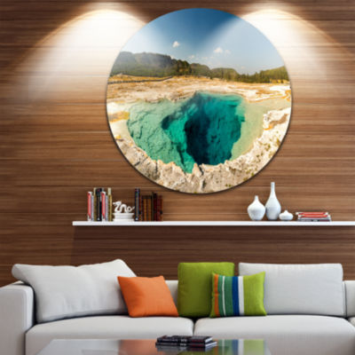 Designart Yellow Stone Pool Panorama Landscape Print Wall Artwork