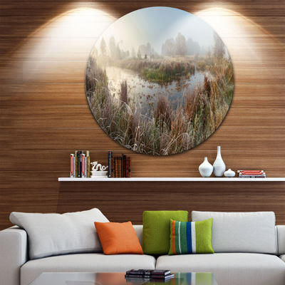Designart Frosty Grass Aside River Panorama Landscape Print Wall Artwork