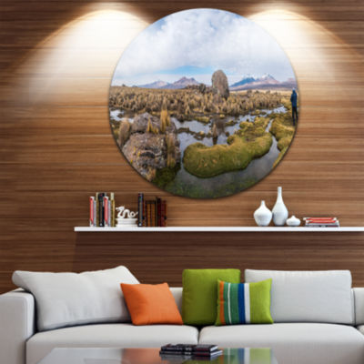 Designart Bolivia Volcanoes Panoramic View Landscape Print Wall Artwork