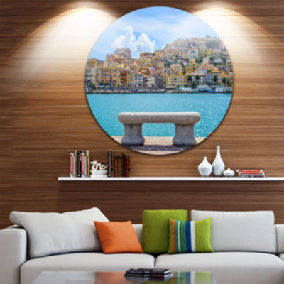 Designart Seafront Bench in Port Santo Stefano Extra Large Seashore Metal Circle Wall Art